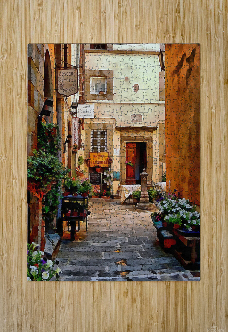 Floral Courtyard Cortona Tuscany  HD Metal print with Floating Frame on Back