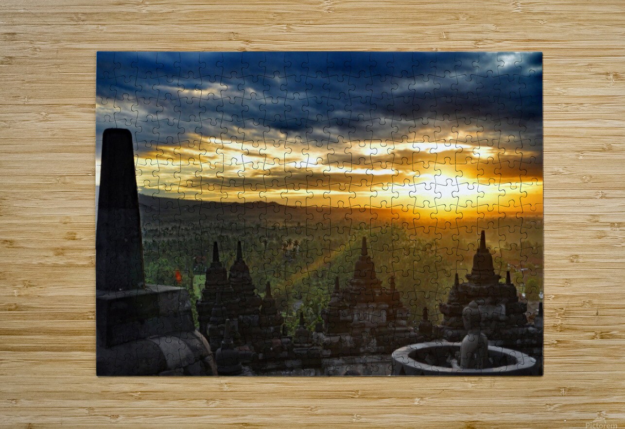 indonesia java landscape borobudur  HD Metal print with Floating Frame on Back