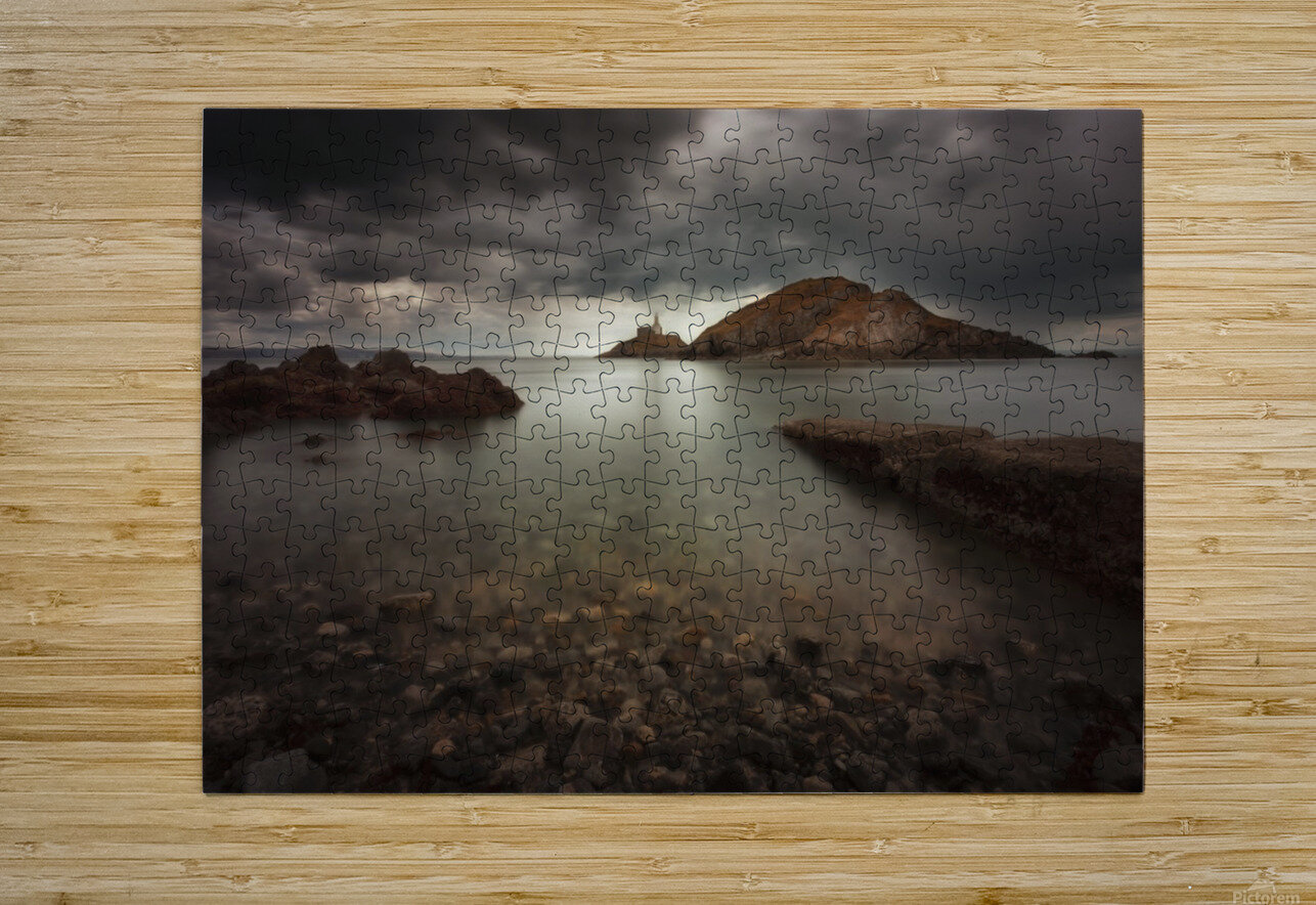 Rough weather over Mumbles lighthouse  HD Metal print with Floating Frame on Back