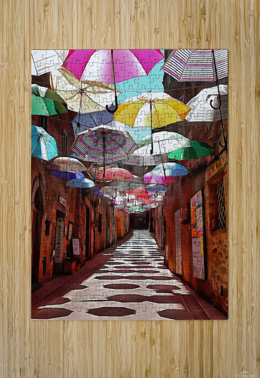 Festa Umbrellas Paciano With Shadows  HD Metal print with Floating Frame on Back