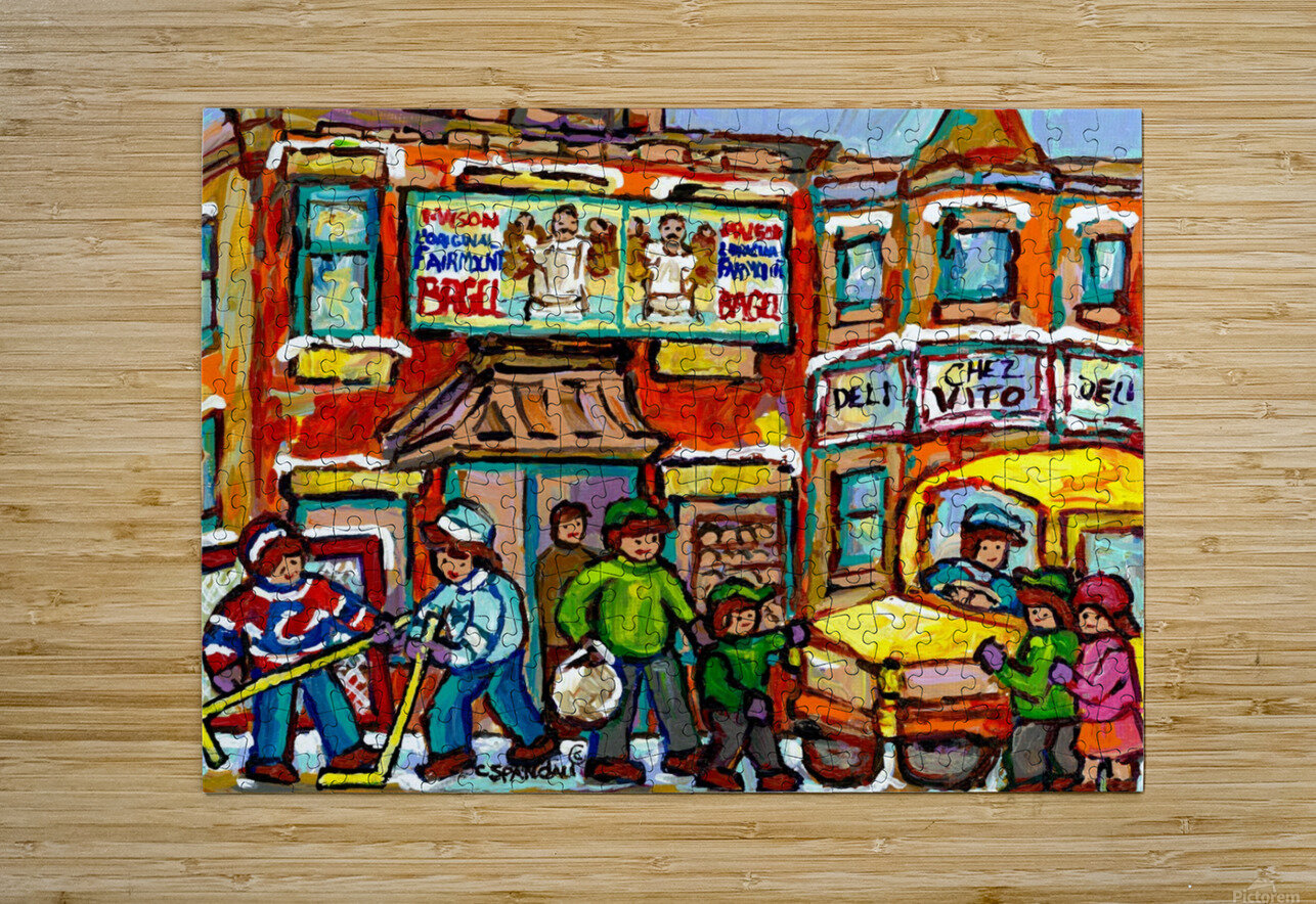 FAIRMOUNT BAGEL MONTREAL PAINTING CHEZ VITO WINTER CITY SCENE  HD Metal print with Floating Frame on Back