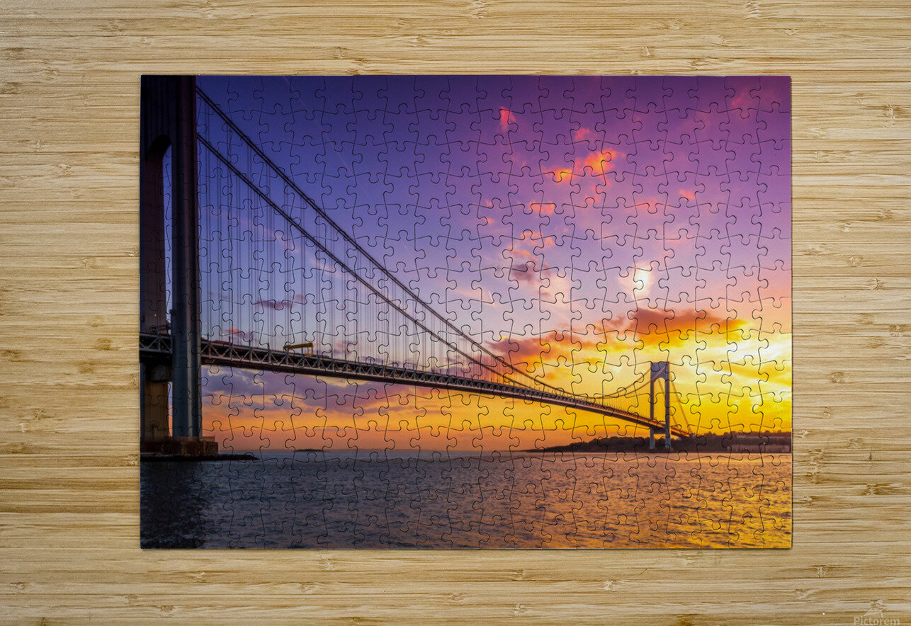 Verrazano bridge at sunset  HD Metal print with Floating Frame on Back
