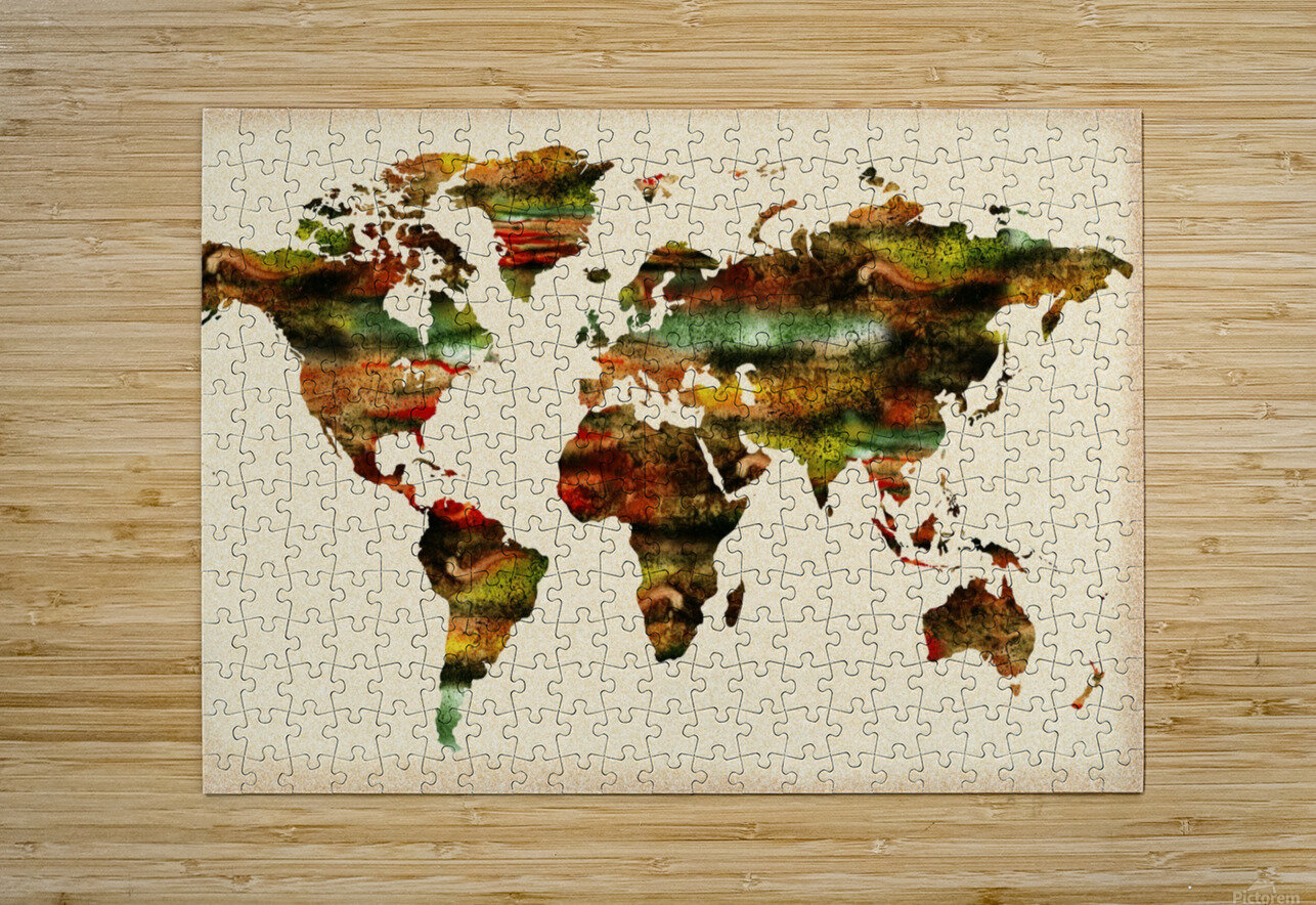 Watercolor World Map Vintage Brown  HD Metal print with Floating Frame on Back
