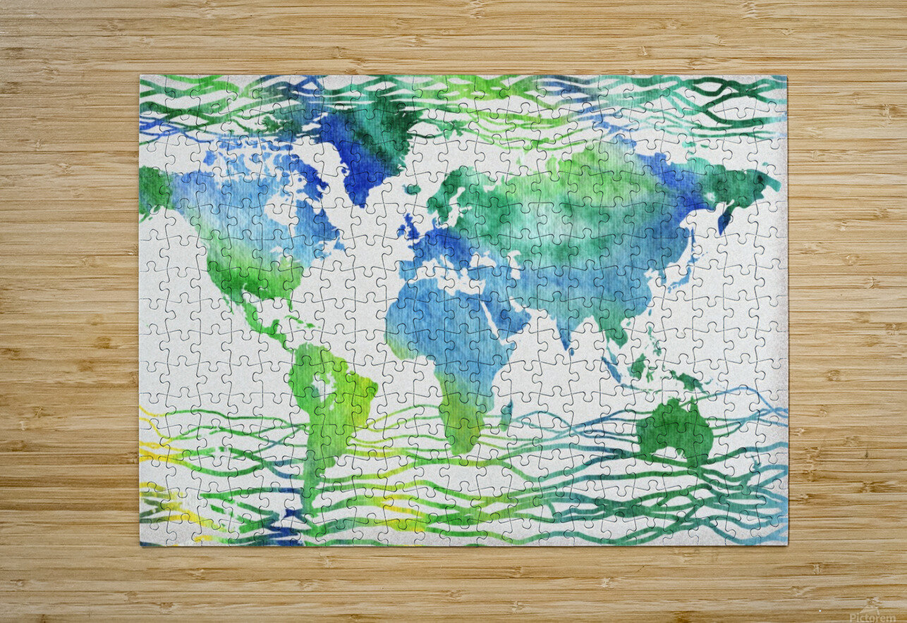 Watercolor Silhouette World Map Blue Green Wave   HD Metal print with Floating Frame on Back