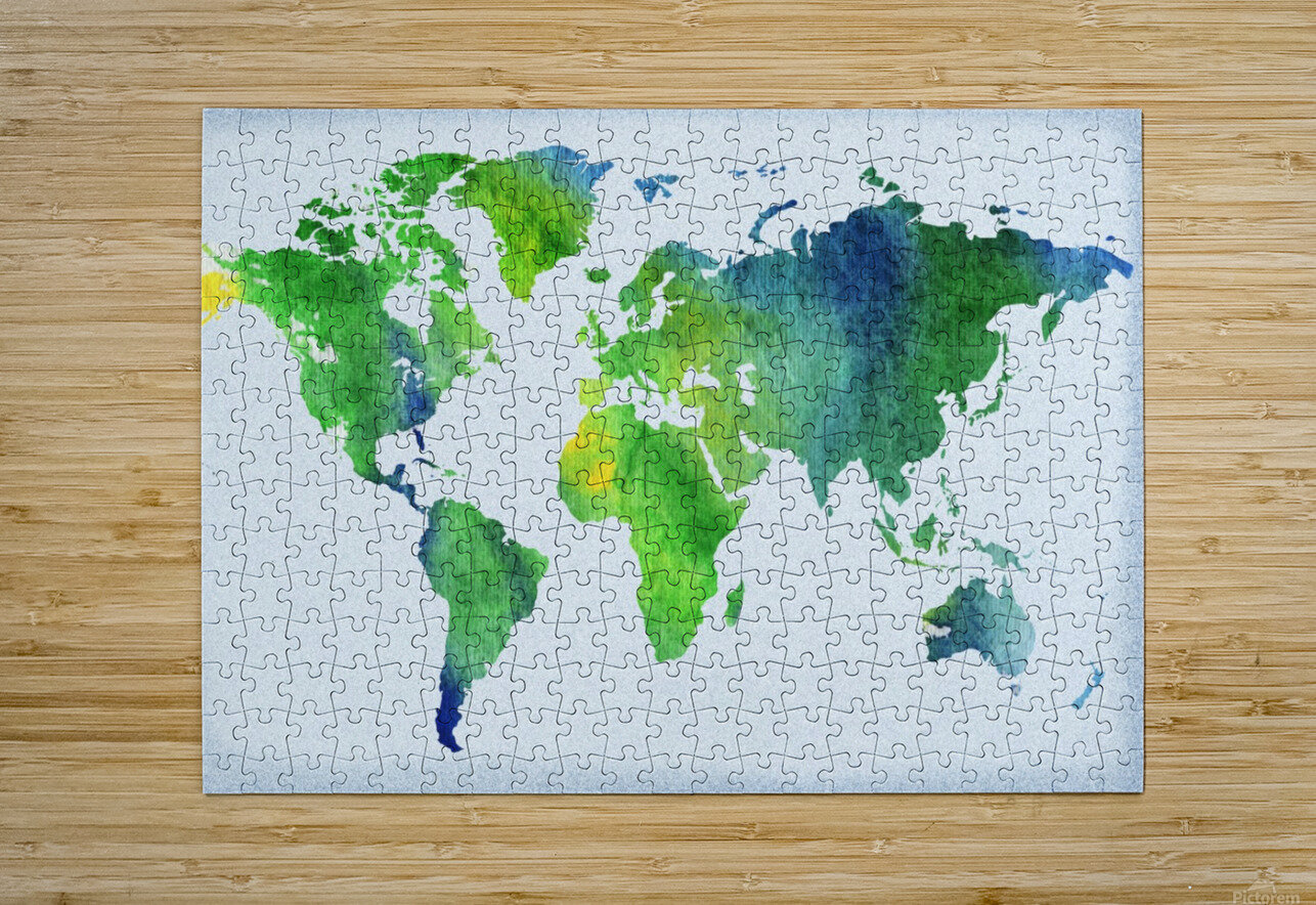 Watercolor Silhouette World Map Peaceful Green   HD Metal print with Floating Frame on Back
