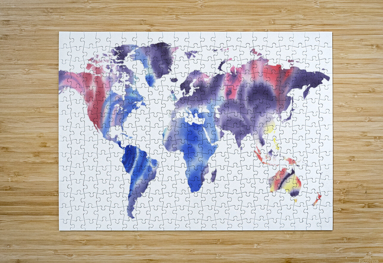 Watercolor Silhouette World Map Purple Blue  HD Metal print with Floating Frame on Back