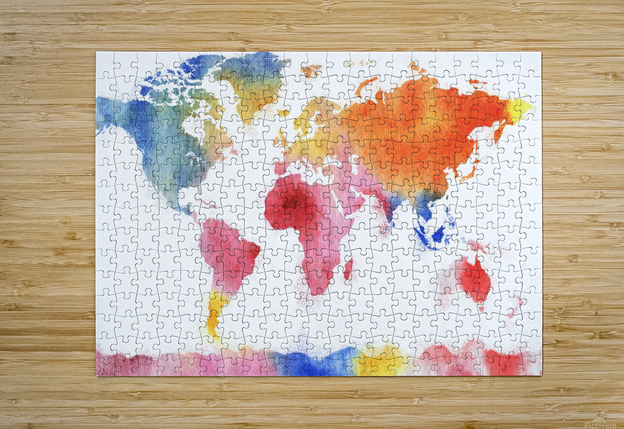 Watercolor Silhouette World Map Rainbow Sea  HD Metal print with Floating Frame on Back
