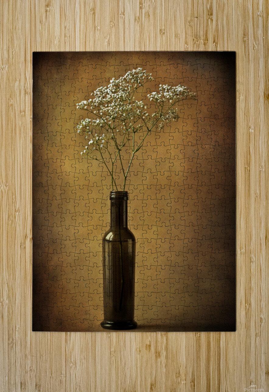 The olive oil bottle  HD Metal print with Floating Frame on Back