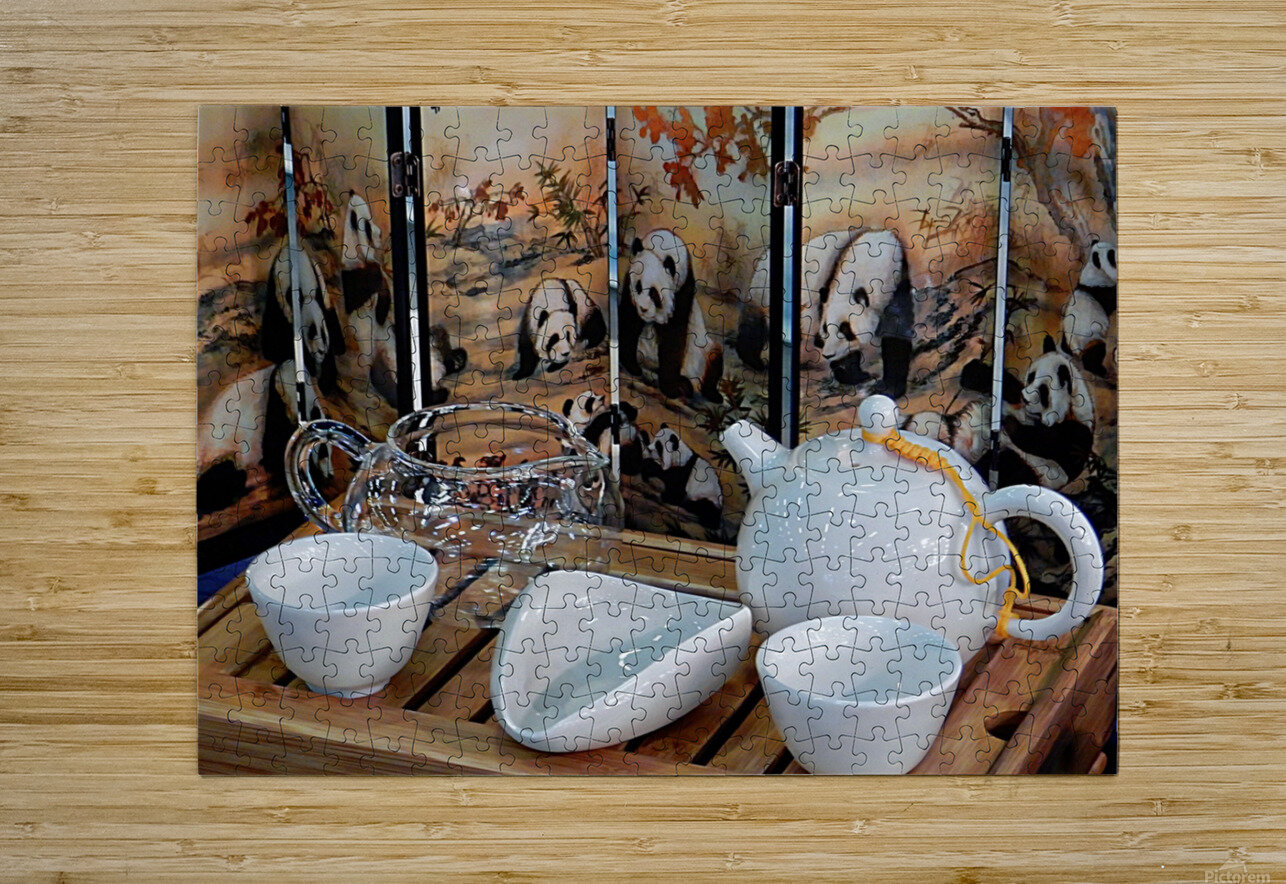 Chinese Tea Ceremony Set With Pandas  HD Metal print with Floating Frame on Back