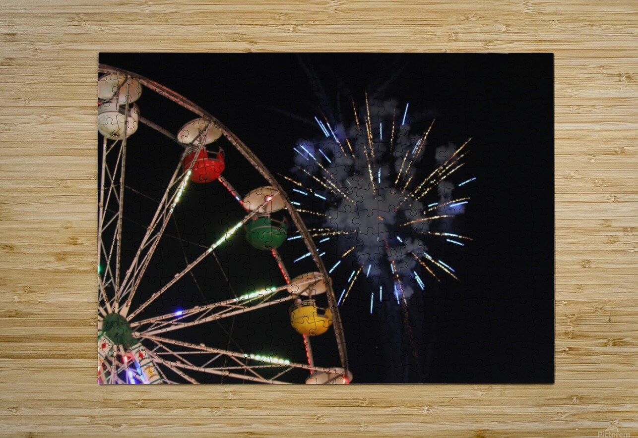 Ferris Wheel and Fireworks  HD Metal print with Floating Frame on Back