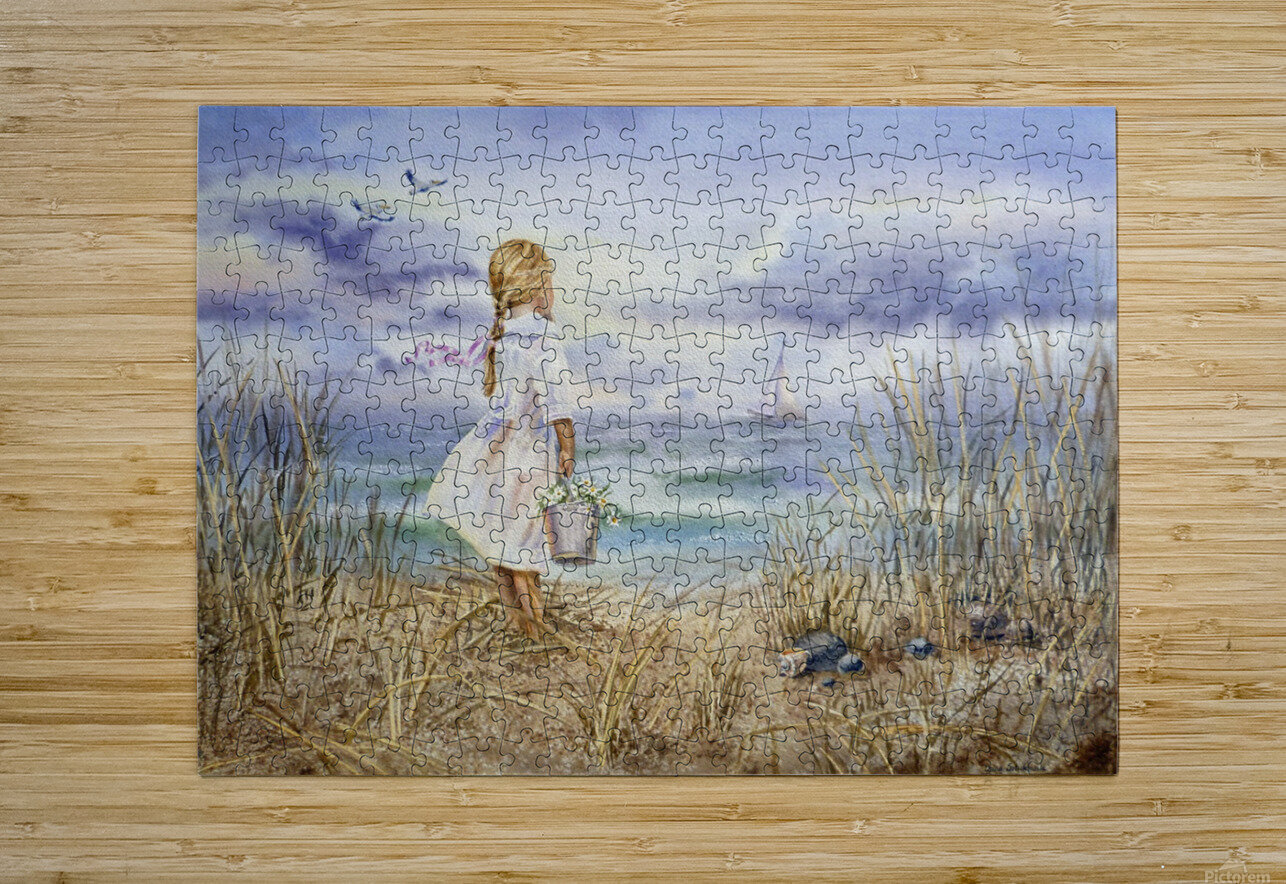 Girl Standing At The Ocean Watching Sailboat and Birds  HD Metal print with Floating Frame on Back