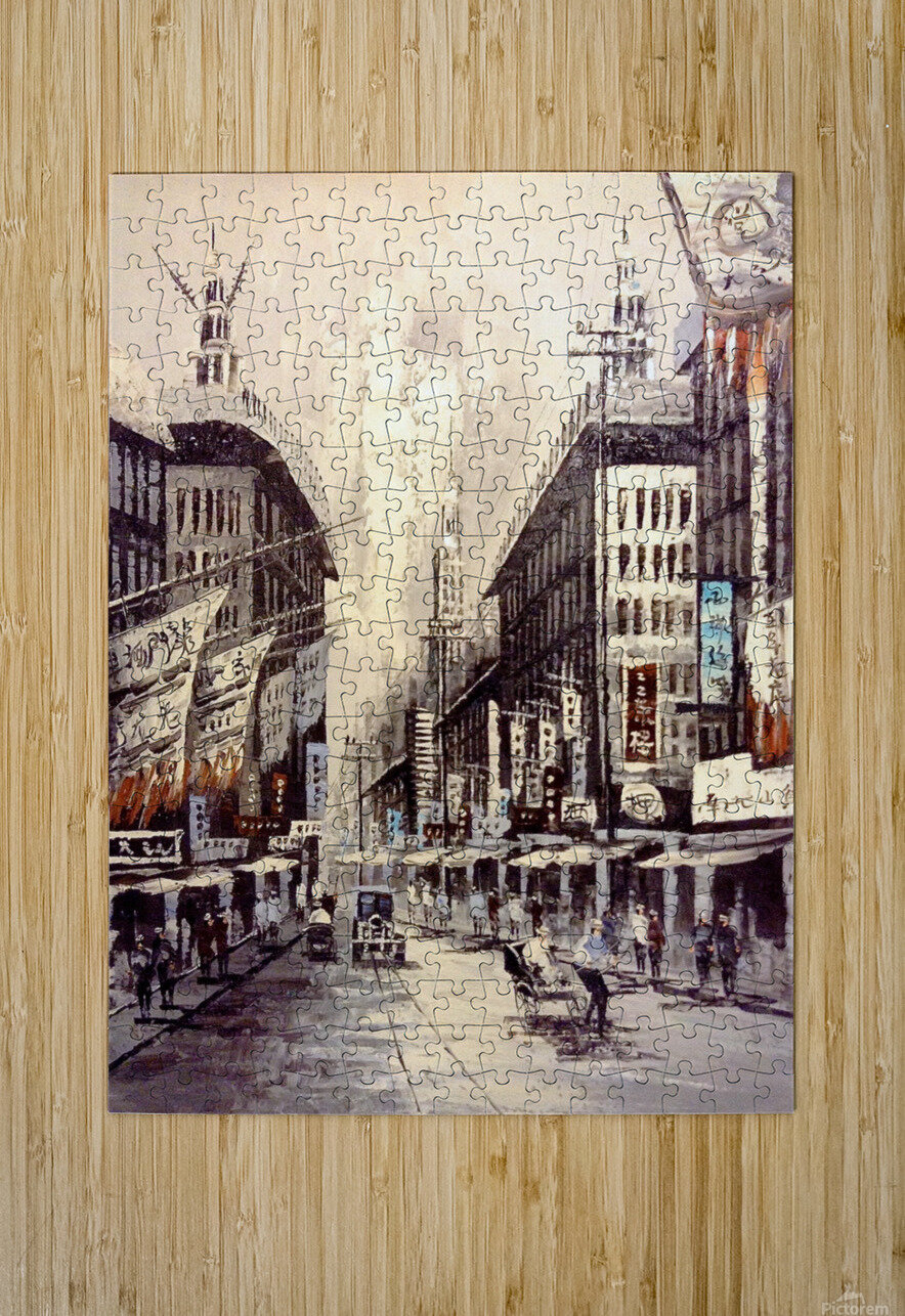 Old Hong Kong Street View  HD Metal print with Floating Frame on Back
