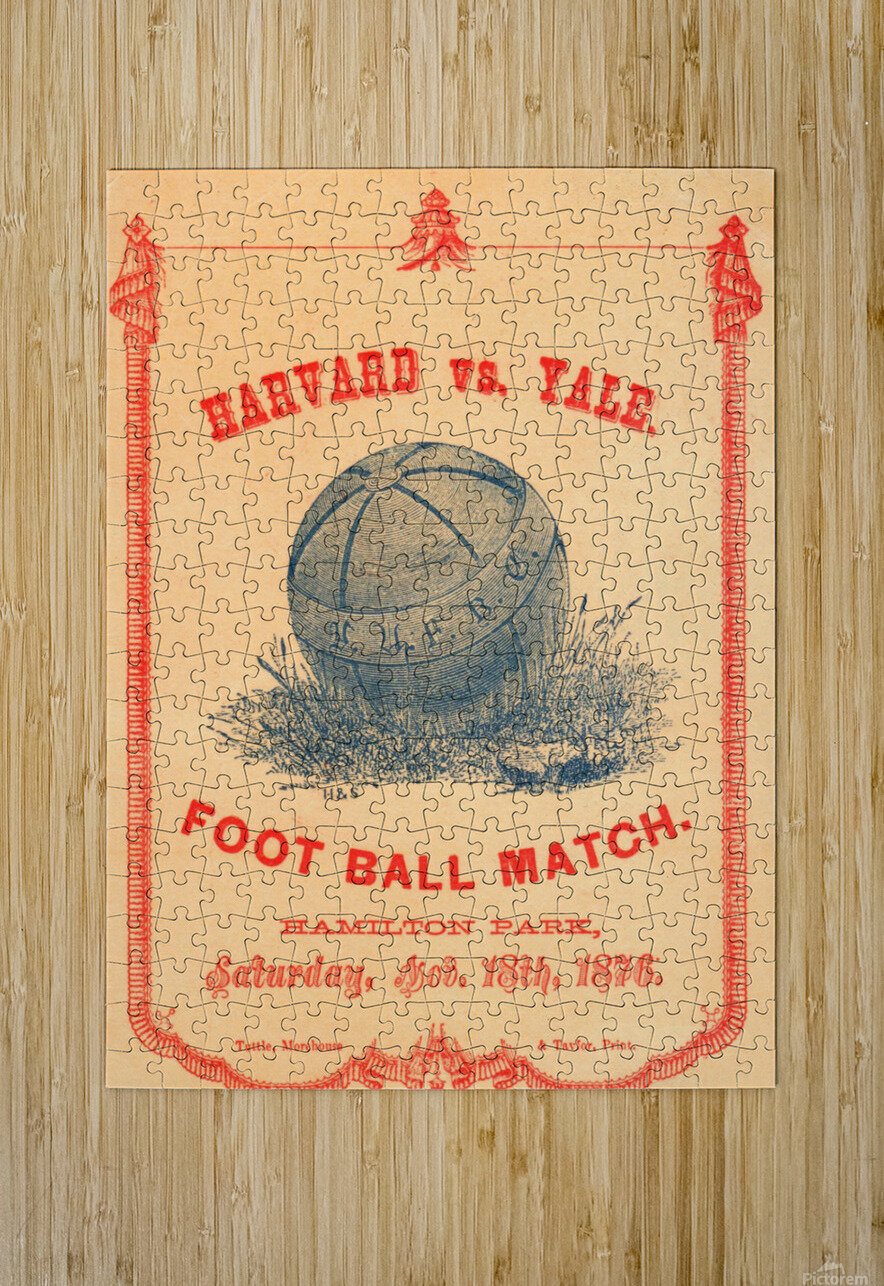 1876 Harvard vs. Yale Football Program Art  HD Metal print with Floating Frame on Back