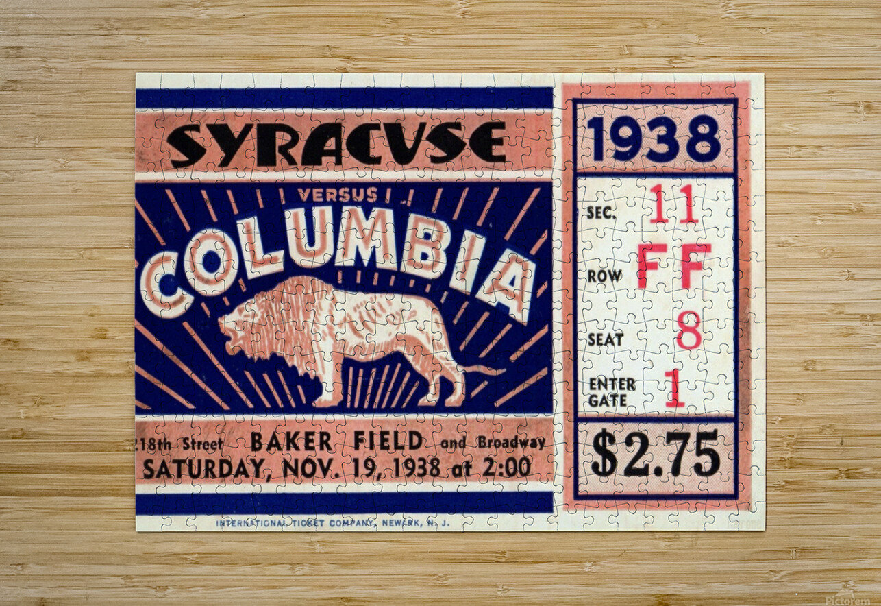 1938_College_Football_Syracuse vs. Columbia_Baker Field_New York City_Row One Brand  HD Metal print with Floating Frame on Back
