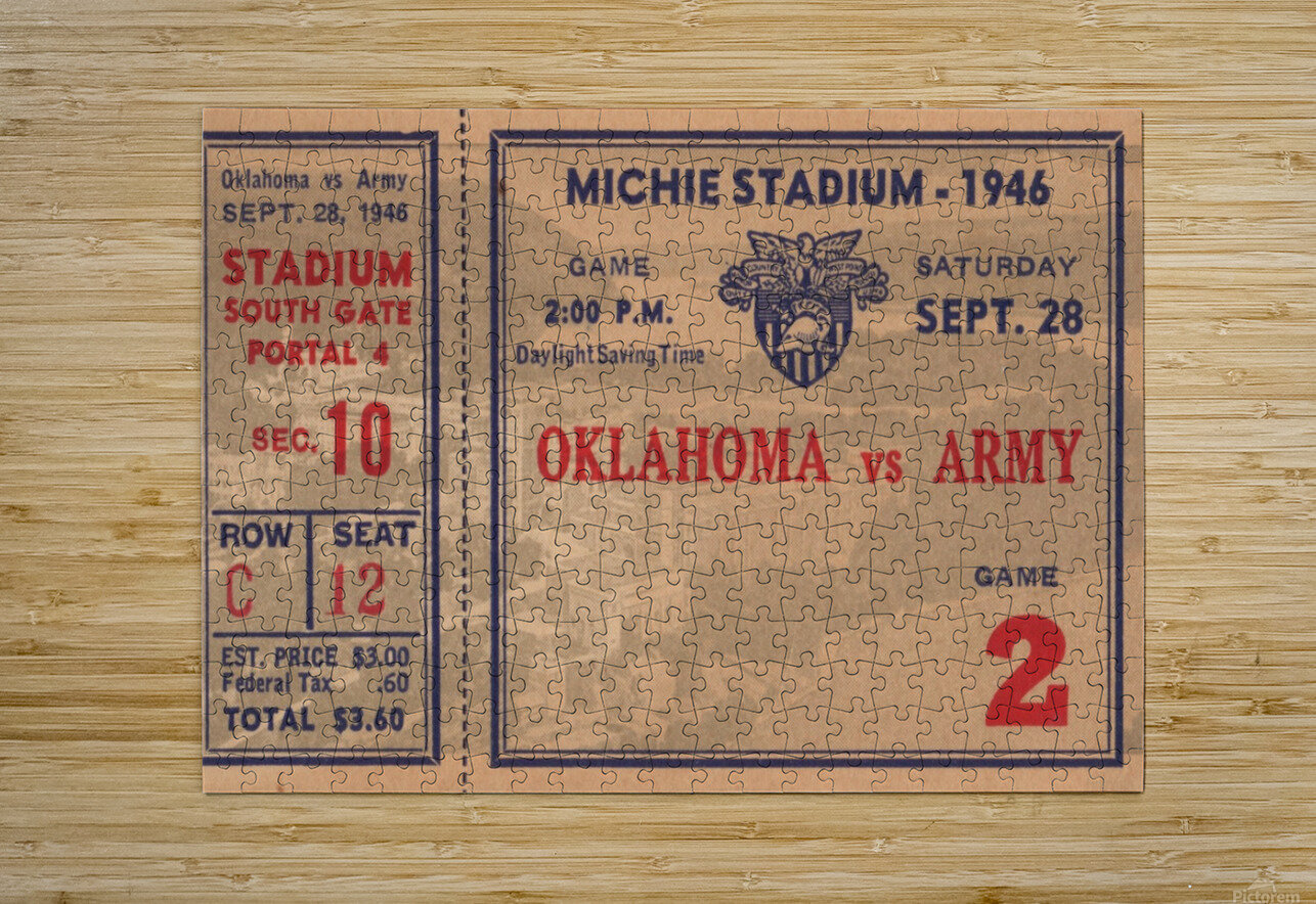 1946_College_Football_Oklahoma vs. Army_Michie Stadium_West Point_New York_Row One Brand  HD Metal print with Floating Frame on Back