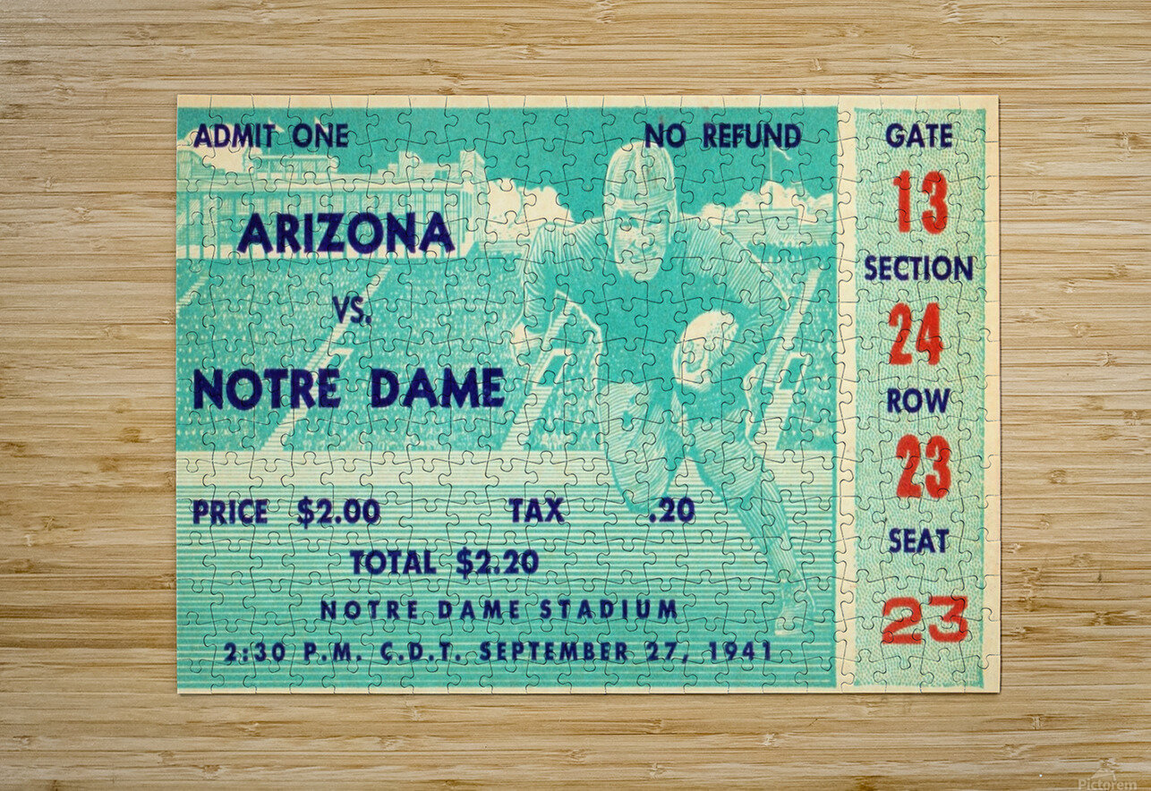 1941_College_Football_Arizona vs. Notre Dame_Notre Dame Stadium_South Bend_Row One Brand  HD Metal print with Floating Frame on Back