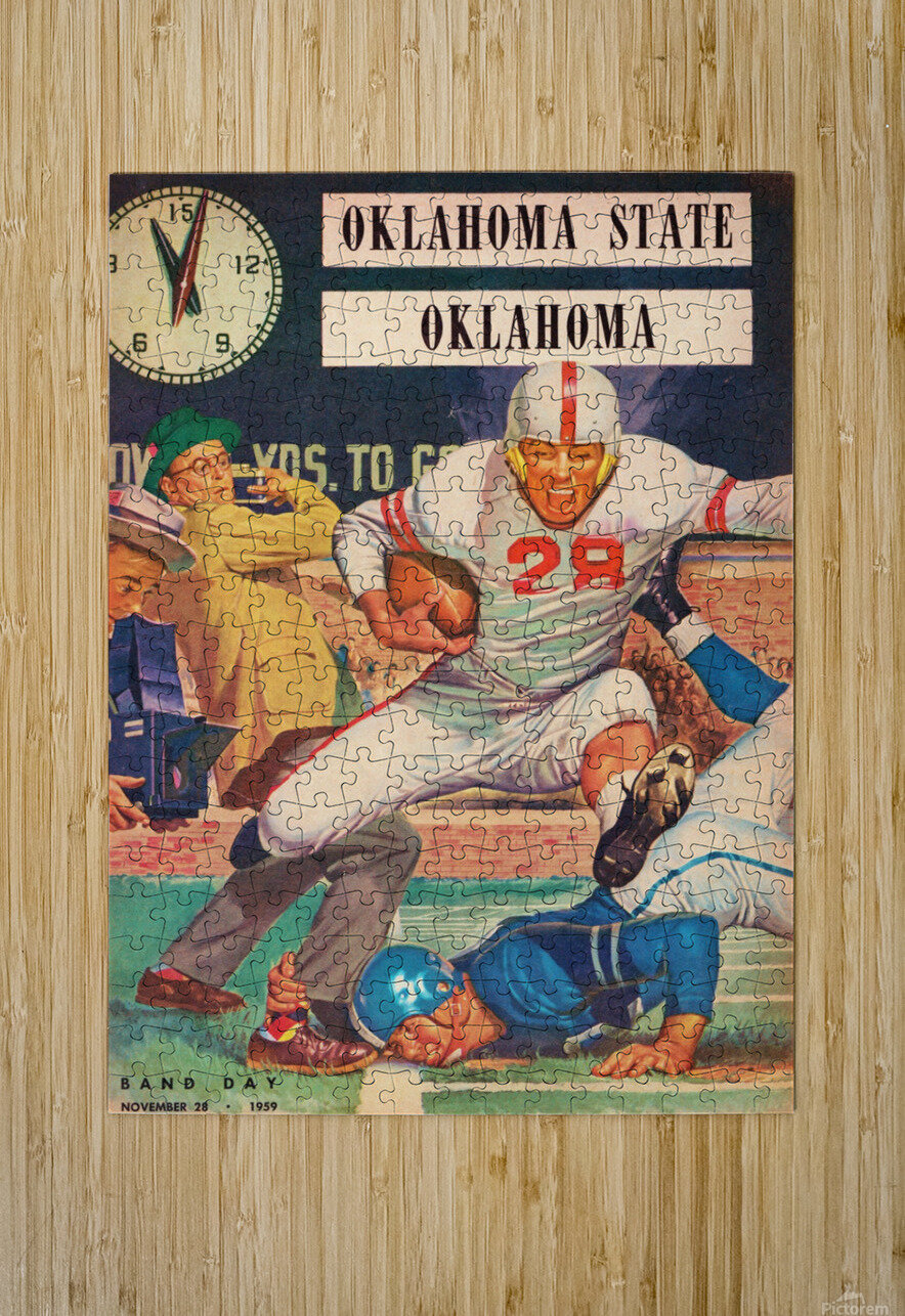1959_College_Football_Oklahoma State vs. Oklahoma_Owen Field_Norman_Row One Brand  HD Metal print with Floating Frame on Back