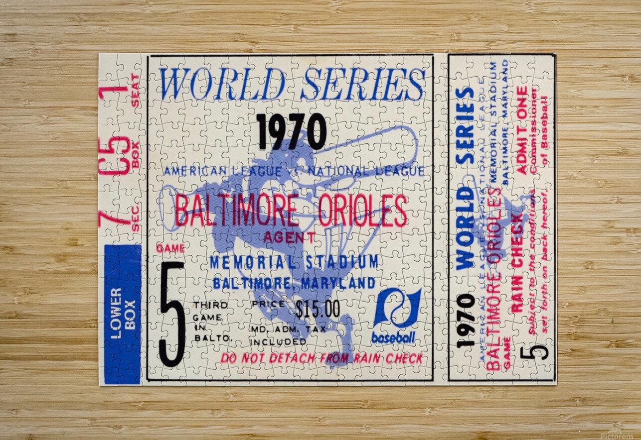 1970_Major League Baseball_World Series_Baltimore Orioles vs. Cincinnati Reds_Memorial Stadium_Row 1  HD Metal print with Floating Frame on Back
