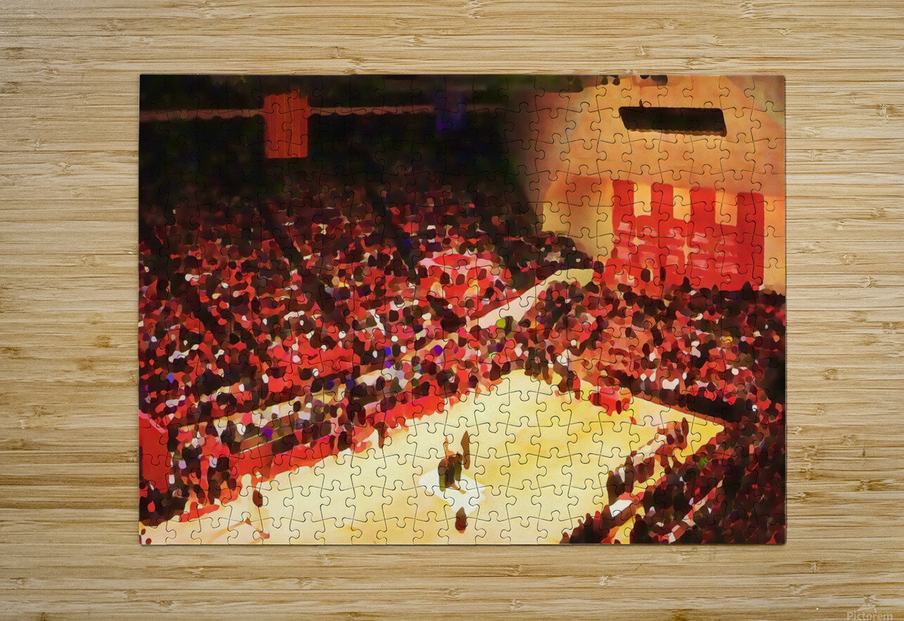 1987_College_Basketball_Indiana Hoosiers_Bloomington Assembly Hall Watercolor Basketball Art Print  HD Metal print with Floating Frame on Back