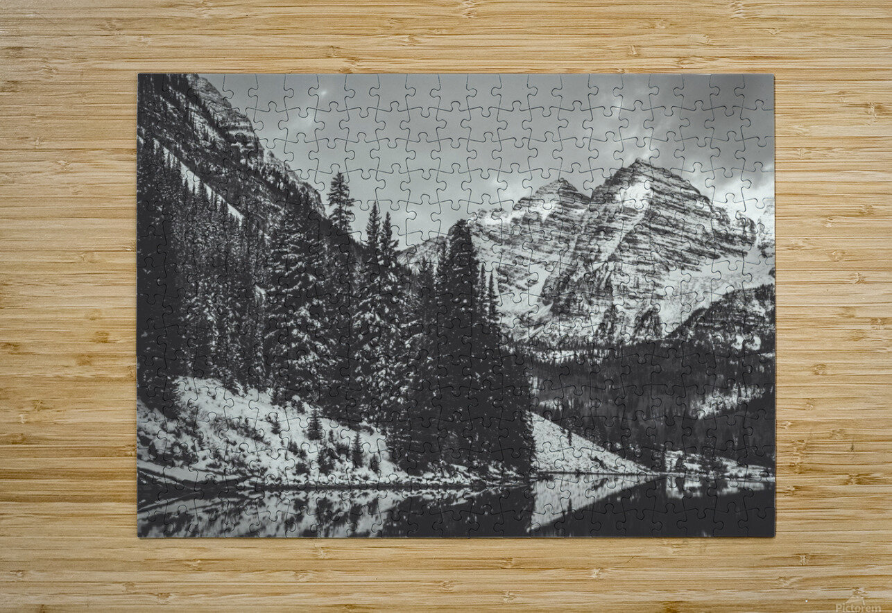 Maroon Bells B&W   HD Metal print with Floating Frame on Back