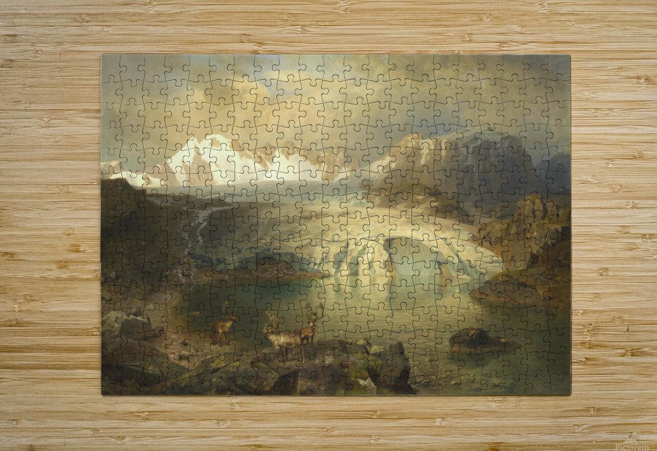 Fjordlandschaft mit Gletscher und Rentieren  HD Metal print with Floating Frame on Back