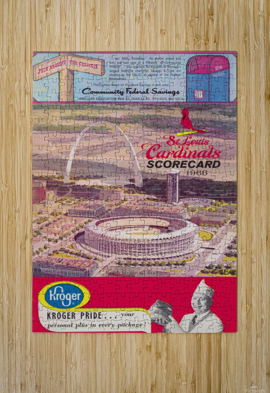 1966 St. Louis Cardinals Opening Game New Busch Stadium Scorecard Kroger Food Ad Poster  HD Metal print with Floating Frame on Back