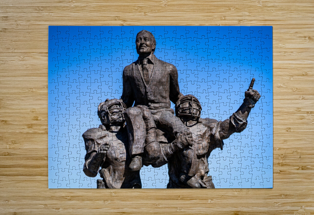 Vince Dooley Statue University of Georgia   Athens GA 07173  HD Metal print with Floating Frame on Back
