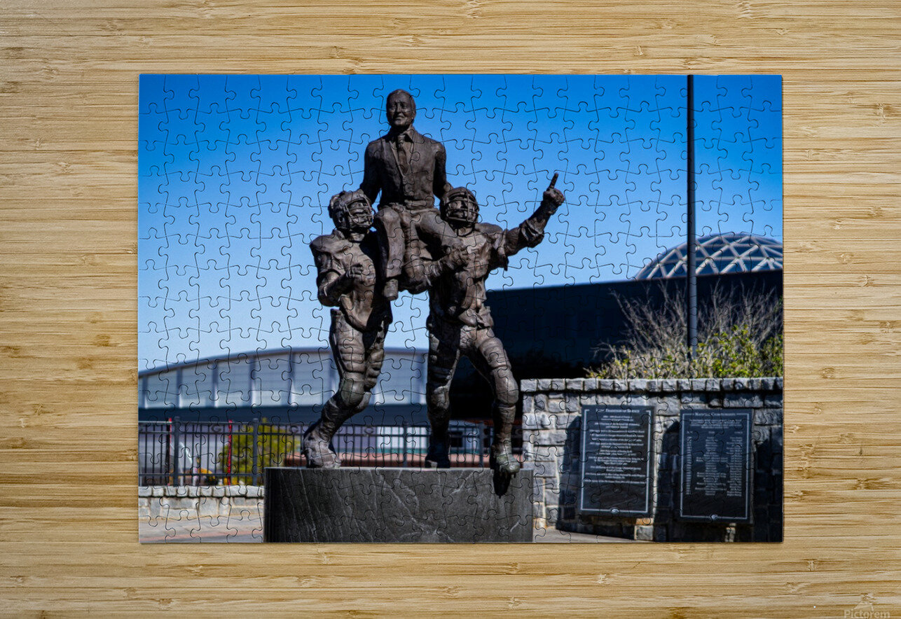 Vince Dooley Statue University of Georgia   Athens GA 07164  HD Metal print with Floating Frame on Back