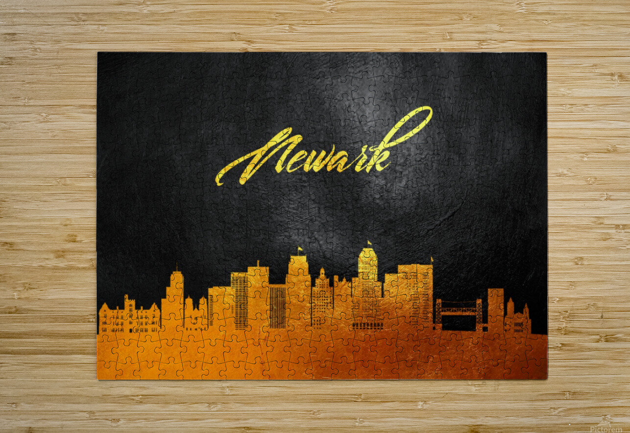 Newark New Jersey Skyline Wall Art  HD Metal print with Floating Frame on Back