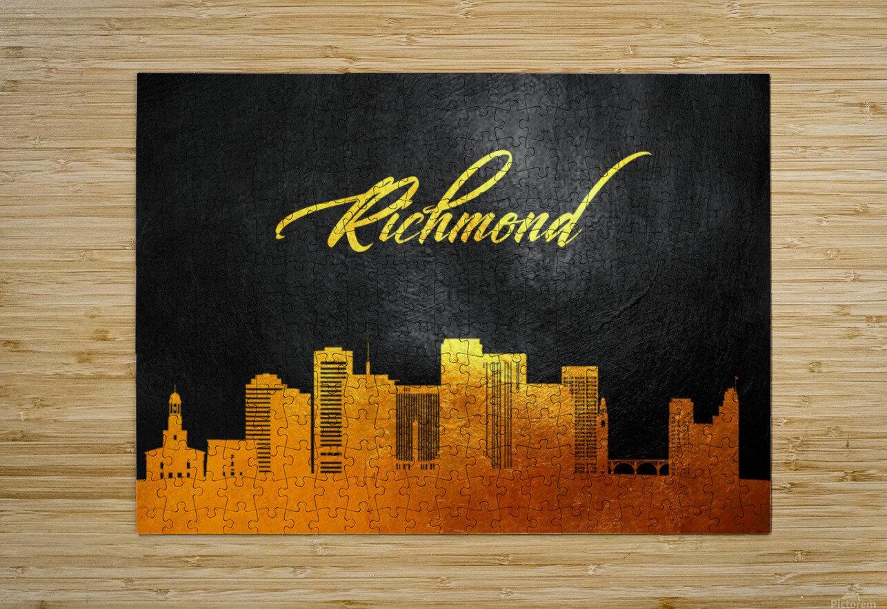 Richmond Virginia Skyline Wall Art  HD Metal print with Floating Frame on Back