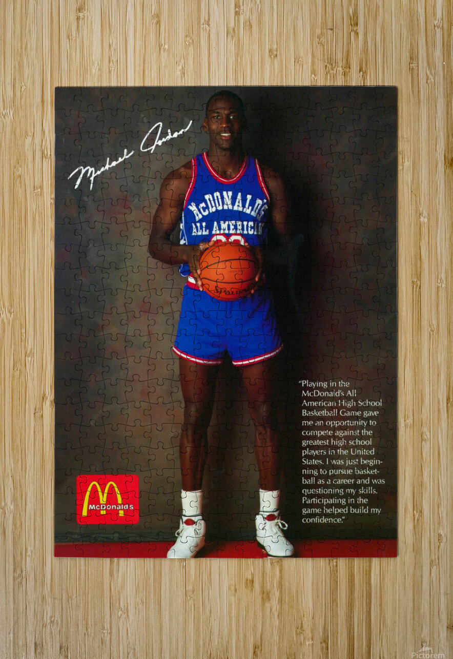 1987 McDonalds Michael Jordan Ad Poster  HD Metal print with Floating Frame on Back