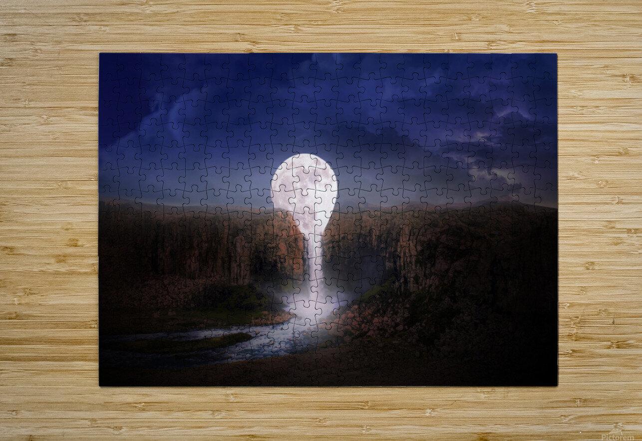 moon landscape night fantasy  HD Metal print with Floating Frame on Back