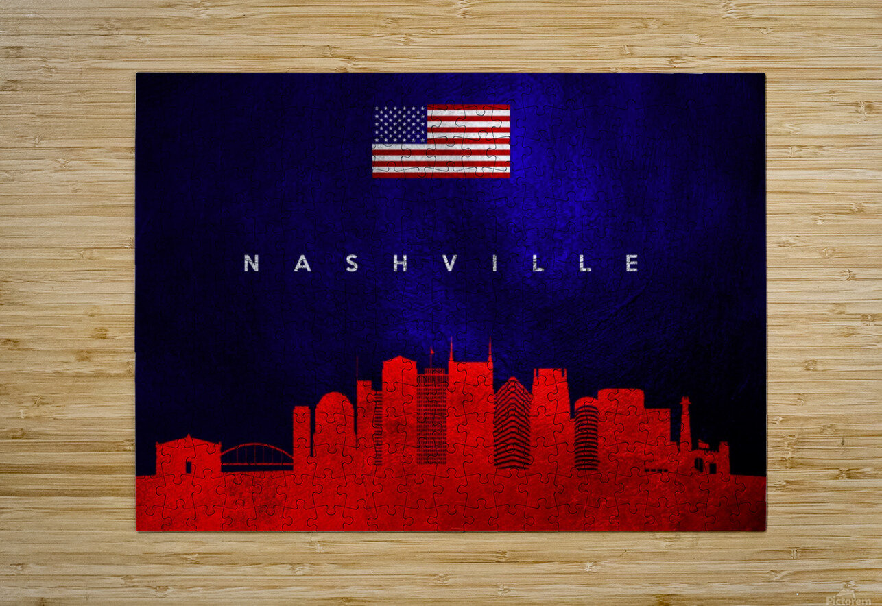 Nashville Tennessee Skyline Wall Art  HD Metal print with Floating Frame on Back
