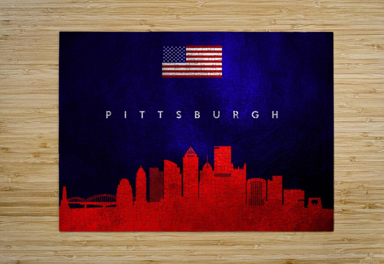 Pittsburgh Pennsylvania Skyline Wall Art  HD Metal print with Floating Frame on Back