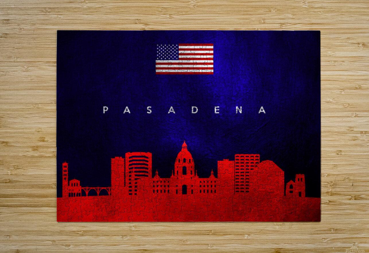 Pasadena California Skyline Wall Art  HD Metal print with Floating Frame on Back