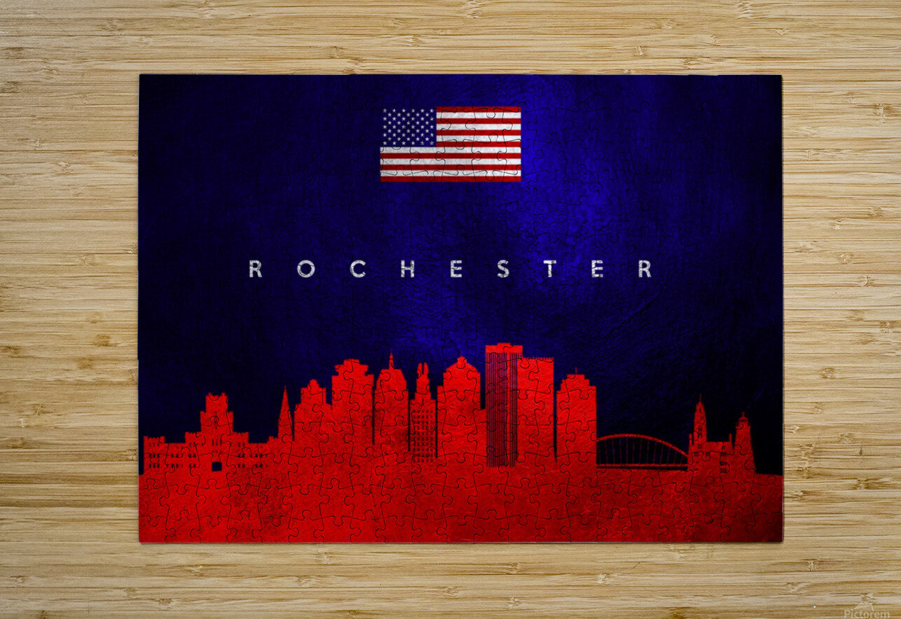 Rochester New York Skyline Wall Art  HD Metal print with Floating Frame on Back