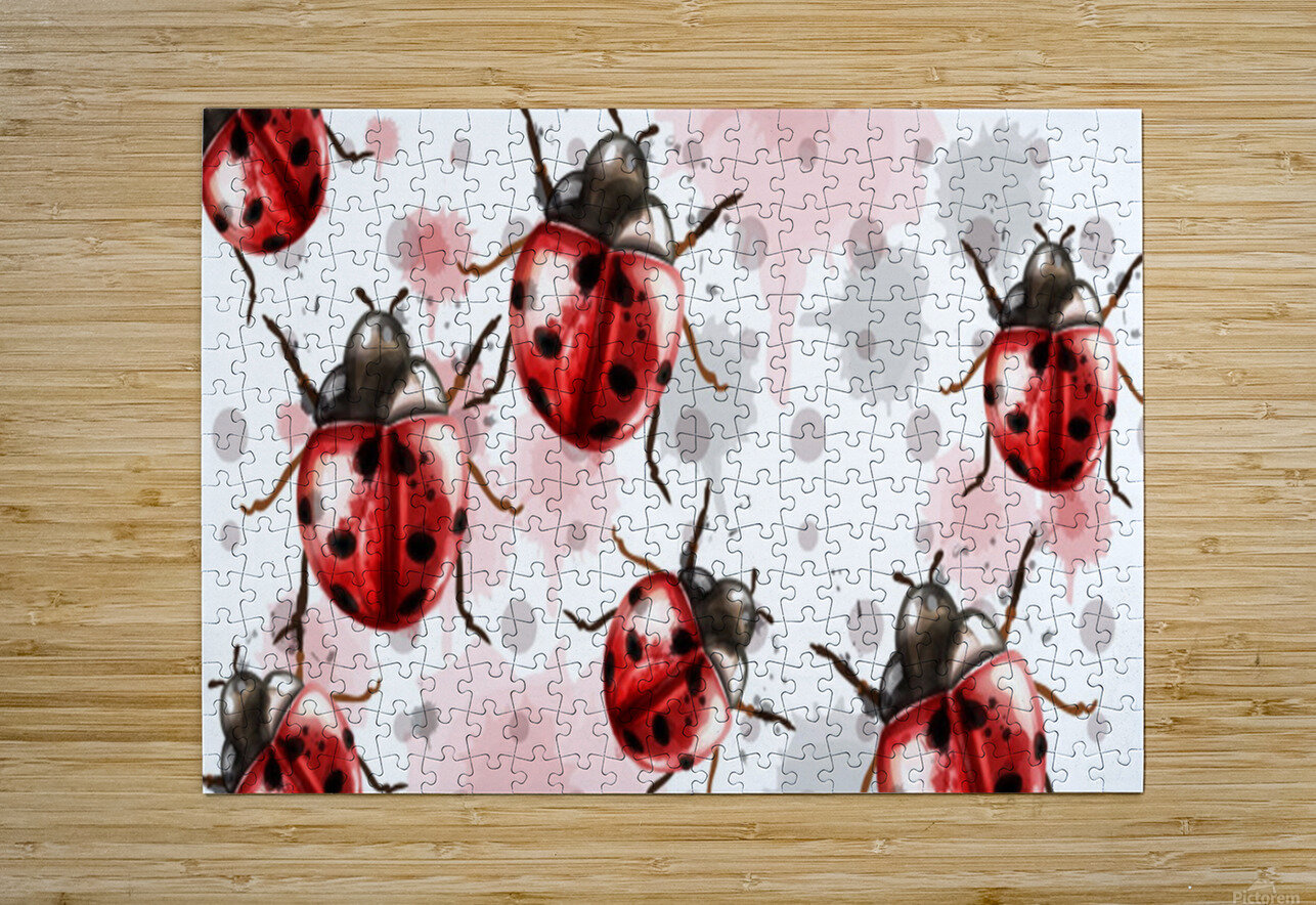 ladybugs pattern texture watercolor_  HD Metal print with Floating Frame on Back