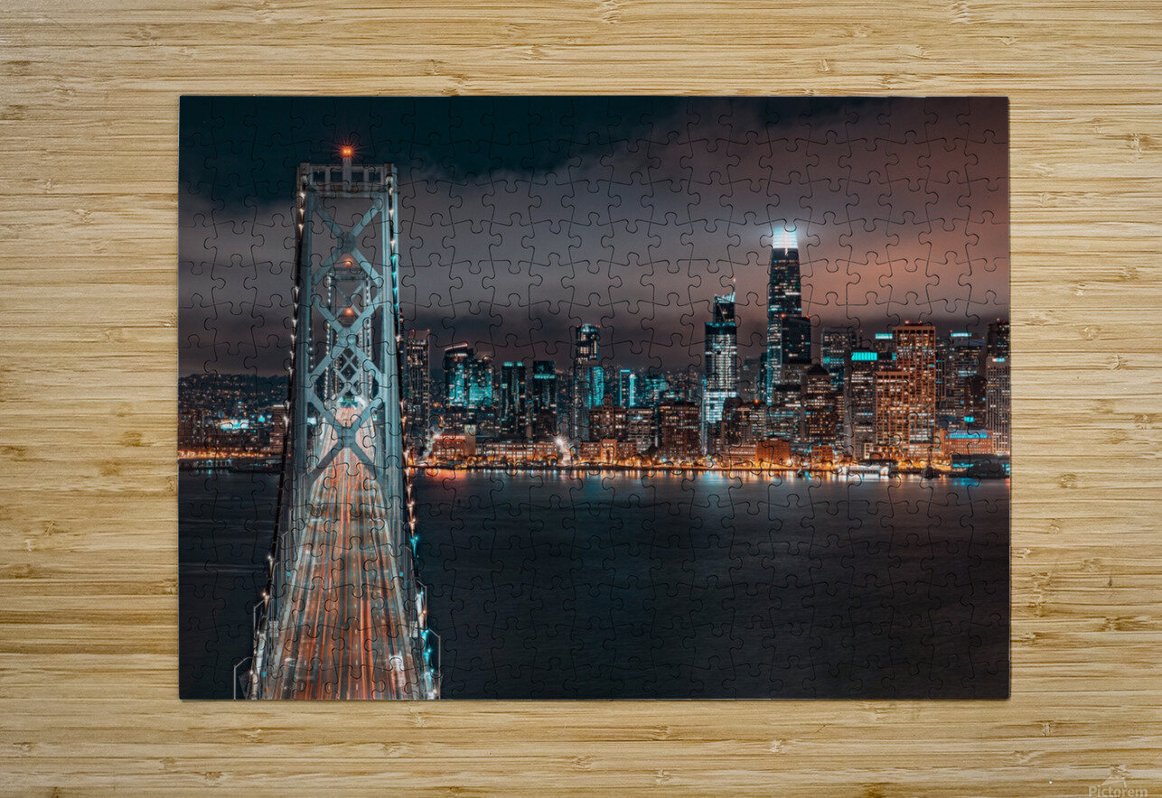 San Francisco Skyline at Night With The Bay Bridge  HD Metal print with Floating Frame on Back