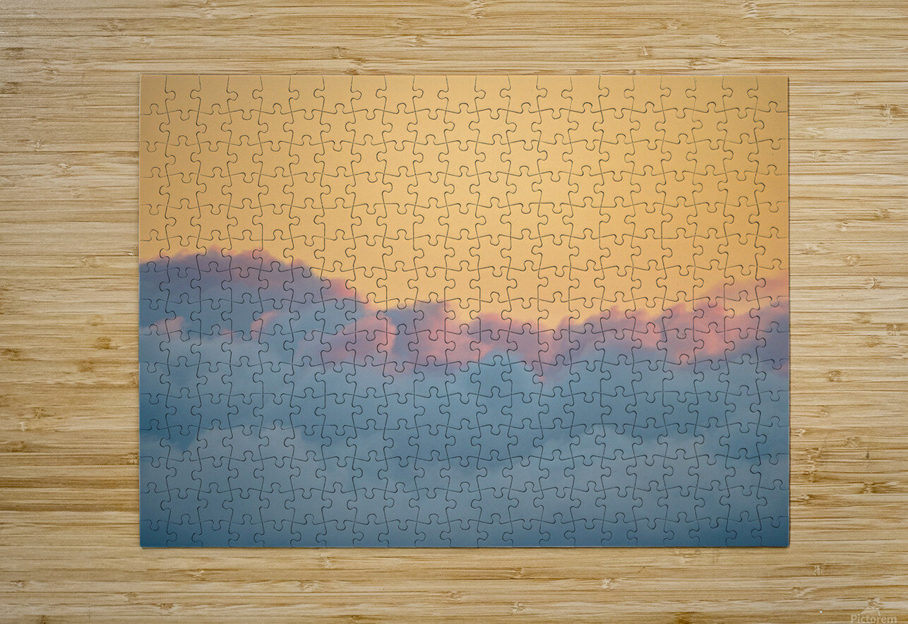 Clouds at Sunset  Impression métal HD avec cadre flottant sur le dos
