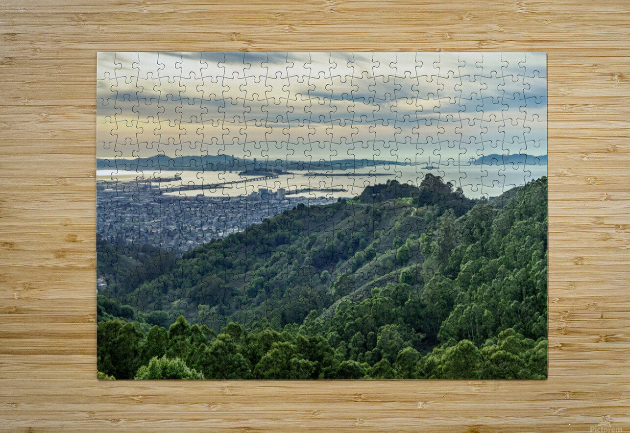 San Francisco Skyline From Berkeley   HD Metal print with Floating Frame on Back