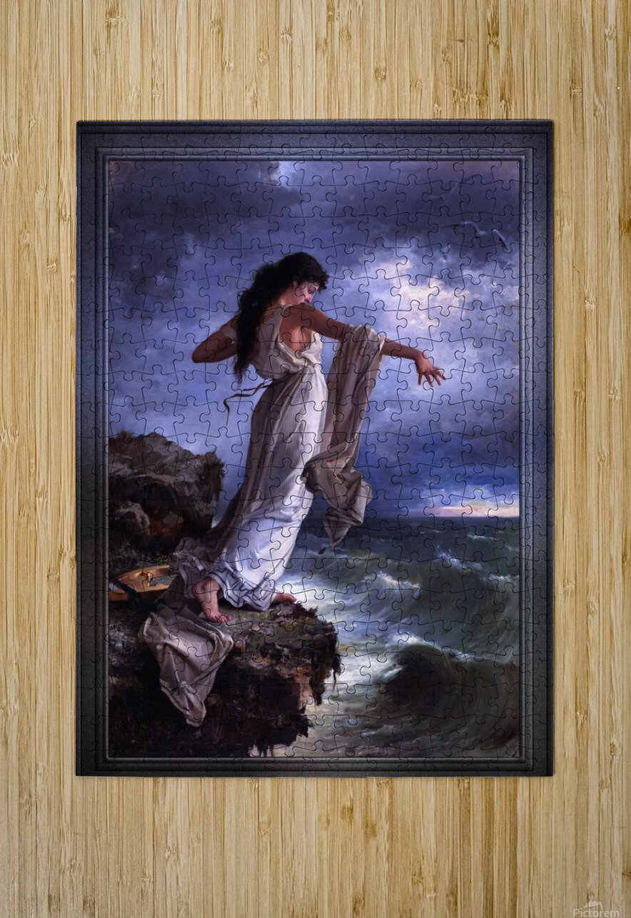 Death of Sappho by Miguel Carbonell Selva  HD Metal print with Floating Frame on Back