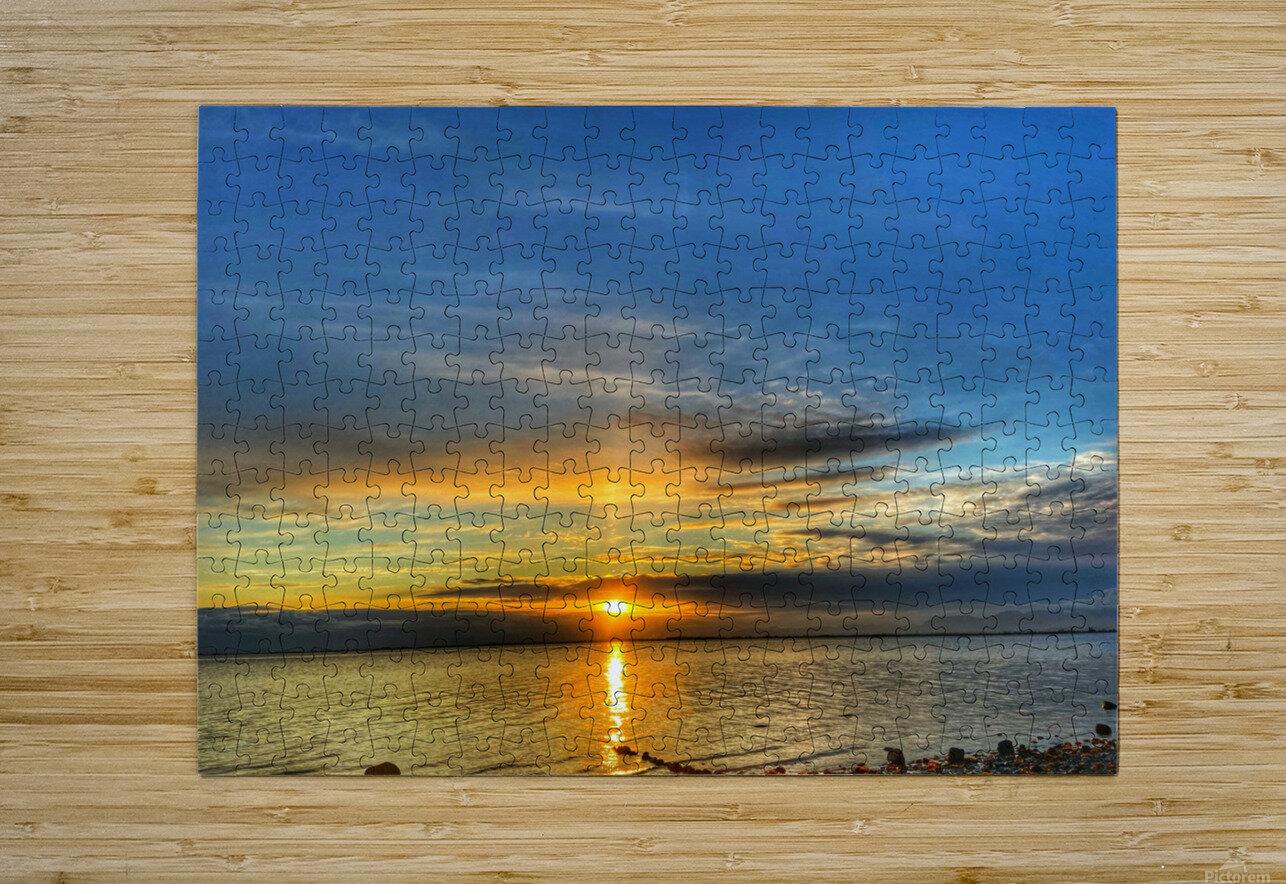 Ocean Sunsets  Impression métal HD avec cadre flottant sur le dos