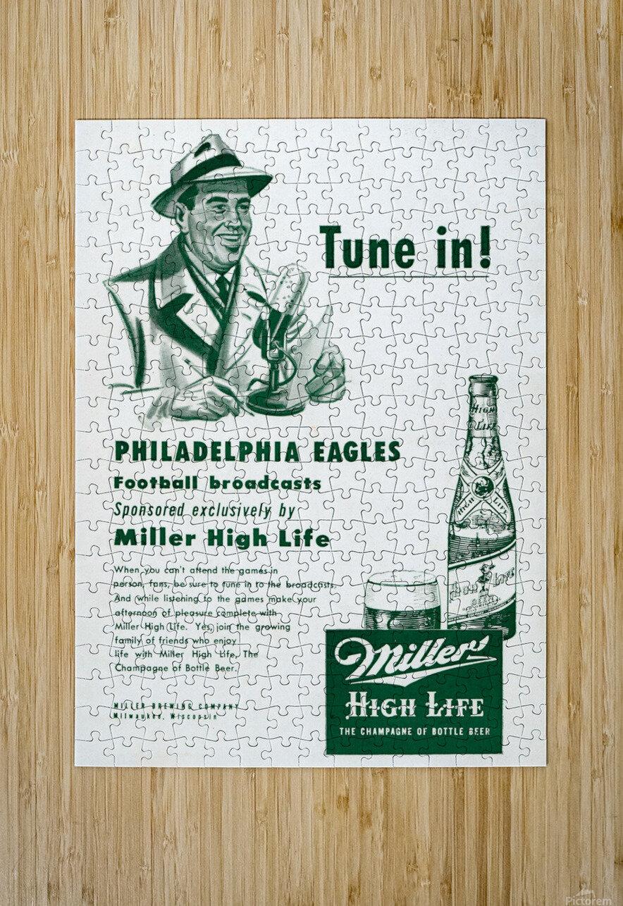 vintage philadelphia eagles miller high life ad poster  HD Metal print with Floating Frame on Back