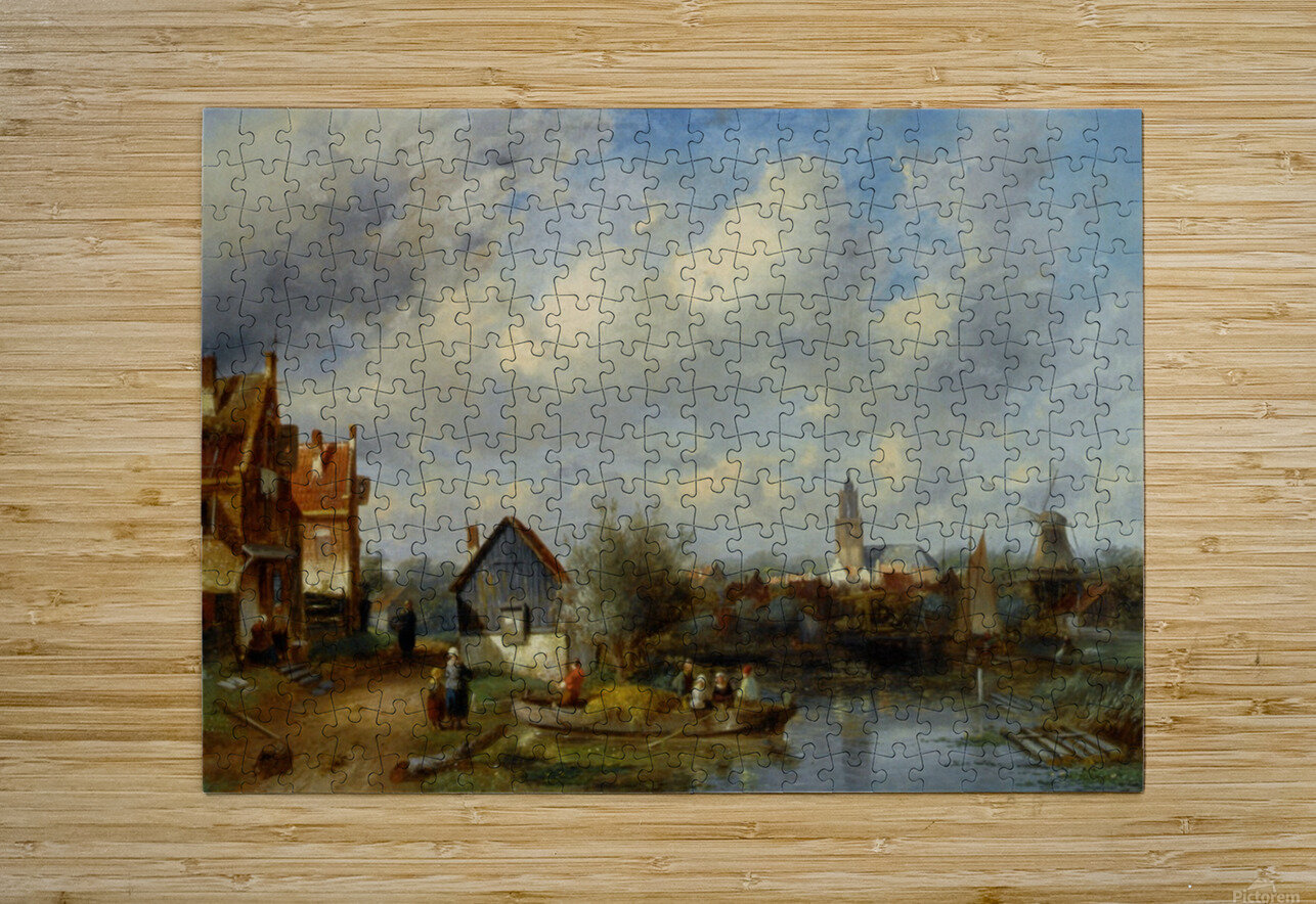 Figures on a Barge Near a Winterside Village  HD Metal print with Floating Frame on Back