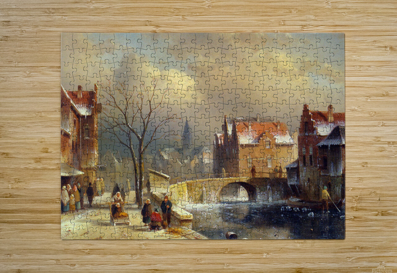 Winter villagers on a snowy street by a canal  HD Metal print with Floating Frame on Back