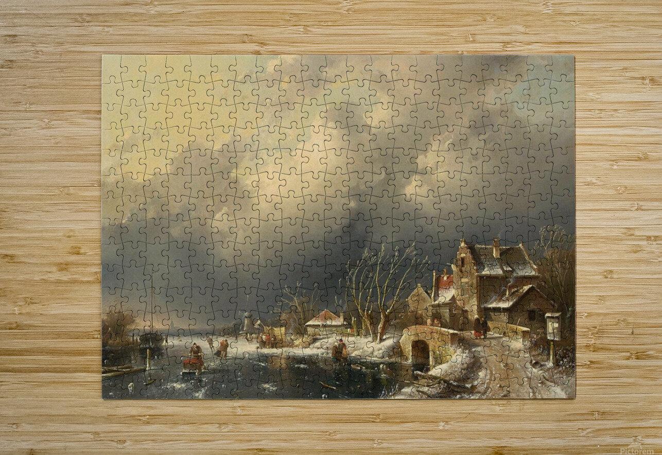 Winter landscape with skaters near a Koek-en-Zopie  HD Metal print with Floating Frame on Back