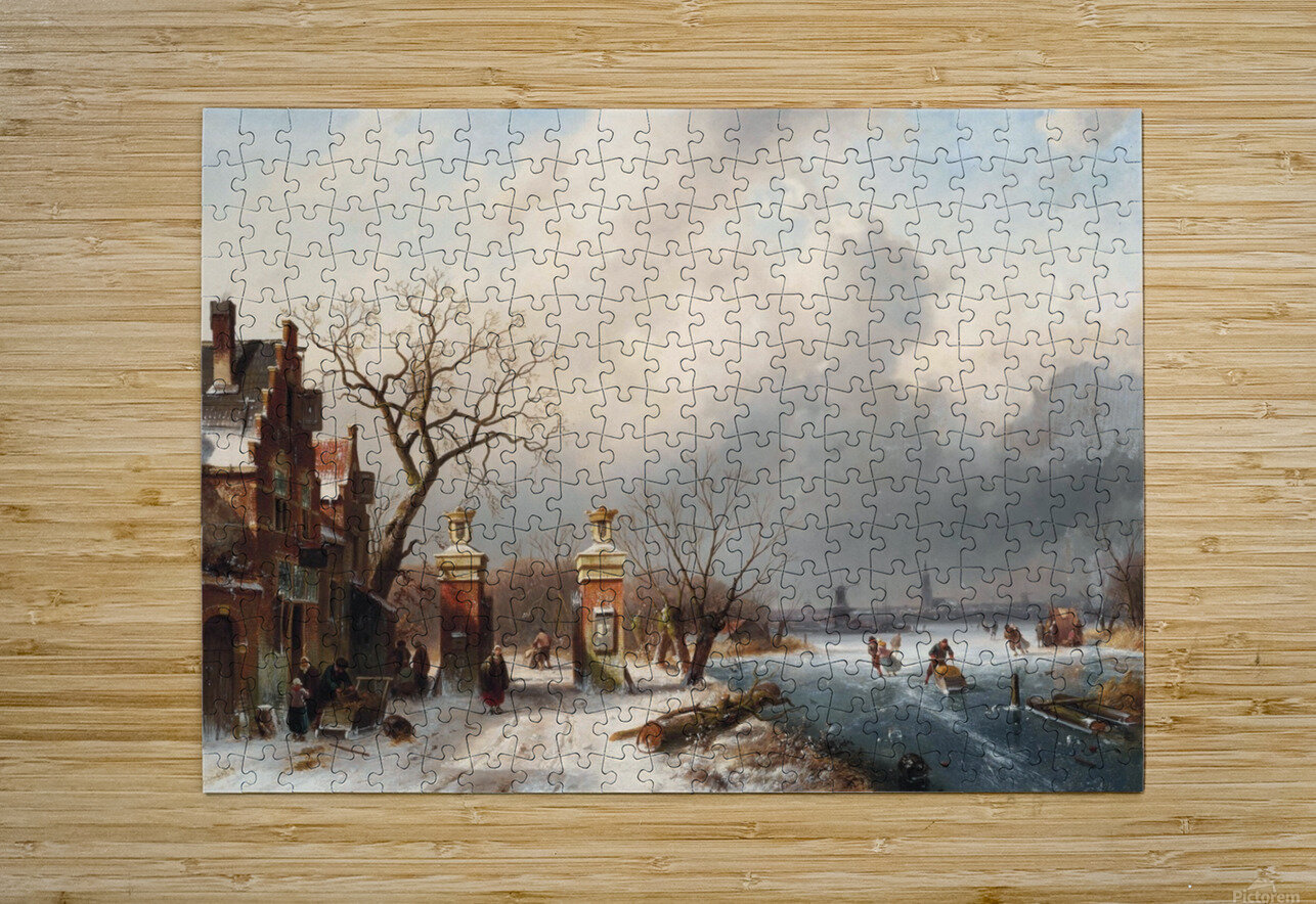 Skaters by a Dutch hamlet  HD Metal print with Floating Frame on Back