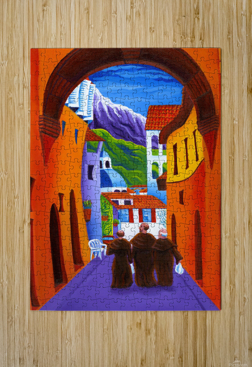 Afternoon In Assisi  HD Metal print with Floating Frame on Back