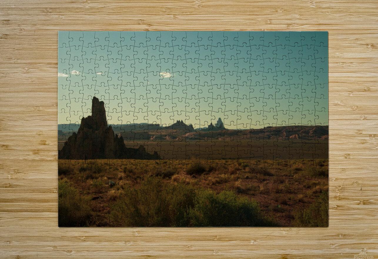 Desert Scene Sunset  HD Metal print with Floating Frame on Back