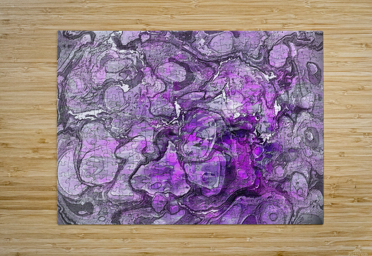 Purple Marble  HD Metal print with Floating Frame on Back